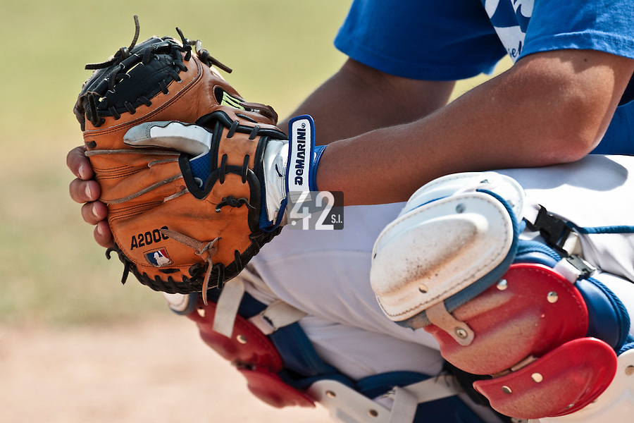 21 july 2010: Close view of a catcher during a practice prior to the 2010 European Championship Seniors, in Neuenburg, Germany.