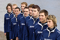 PUTNEY, LONDON, ENGLAND, 06.03.2006, Oxford line up on the shore, during the photo session held at 2006 Presidents Challenge and Boat Race Crew announcement, held at the Winchester Club, Putney, London   © Peter Spurrier/Intersport-images.com..OUBC, Bow Robin Esjmond-Frey, No.2 Colin Smith, No.3 Jake Wetzel, No.4 Paul Daniels, No.5 James Schroeder. No.6 Barney Williams, No. 7 Tom Parker, stroke Bastien Ripoll, and cox Nick Brodie,..[Mandatory Credit Peter Spurrier/ Intersport Images] Varsity:Boat Race