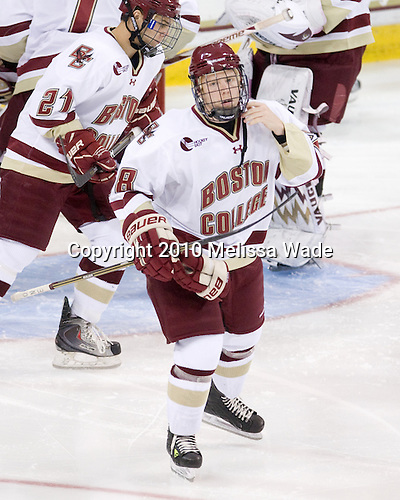 "Not sure what the ""ONE"" on Tommy Atkinson's (BC - 28) stick means, but he did get ""one"" goal in the game - his first collegiate goal. - The Boston College Eagles defeated the visiting University of Maine Black Bears 4-0 on Friday, November 19, 2010, at Conte Forum in Chestnut Hill, Massachusetts."