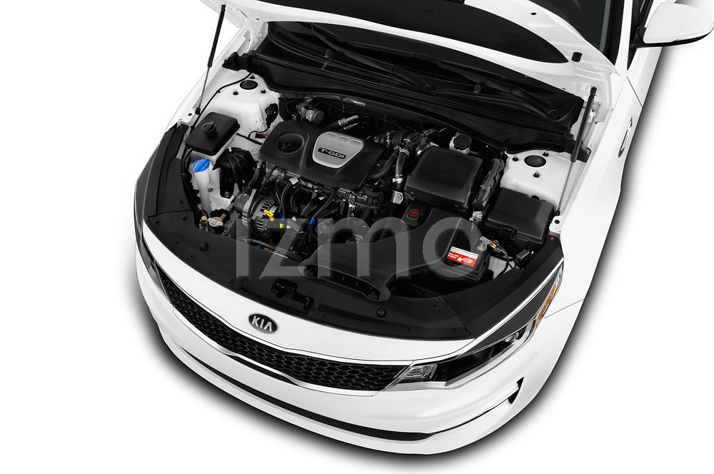 Car stock 2016 KIA Optima LX Turbo 4 Door Sedan engine high angle detail view