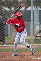 Los Angeles Angels left fielder Torii Hunter Jr. (33) during a Minor League Spring Training game against the Cincinnati Reds at the Cincinnati Reds Training Complex on March 15, 2018 in Goodyear, Arizona. (Zachary Lucy/Four Seam Images)