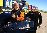 May 21, 2017; Topeka, KS, USA; NHRA pro mod driver Steve Jackson (right) greets runner up Mike Castellana as he celebrates after winning the Heartland Nationals at Heartland Park Topeka. Mandatory Credit: Mark J. Rebilas-USA TODAY Sports