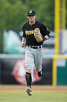 West Virginia Power shortstop Kevin Newman (5) jogs off the field between innings of the game against the Hickory Crawdads at L.P. Frans Stadium on August 15, 2015 in Hickory, North Carolina.  The Power defeated the Crawdads 9-0.  (Brian Westerholt/Four Seam Images)