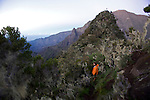 "Climbing of  ""Les trois salazes"" rocky crest between Cilaos and Mafate. La reunion sland"