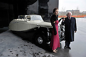 Sir Arnold Clark - with Marketing Assistant Lauren Abercrombie - and the 1950 Daimler DB 18 Special Sports Drophead Coupe that once belonged to King George VI and is being loaned to the new Riverside Museum in Glasgow as part of the £200.000 donation being made to the Museum Appeal by Sir Arnold - Picture by Donald MacLeod - 21.2.11 - 07702 319 738 - www.donald-macleod.com