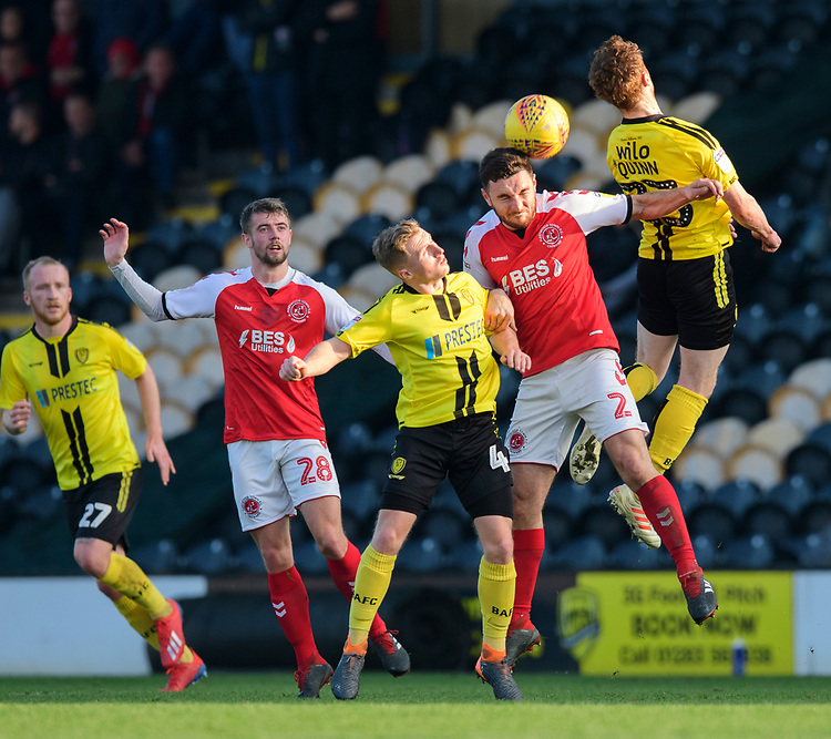 Fleetwood Town's Lewis Coyle vies for possession with Burton Albion's Jamie Allen, left, and Burton Albion's Stephen Quinn<br /> <br /> Photographer Chris Vaughan/CameraSport<br /> <br /> The EFL Sky Bet League One - Saturday 23rd February 2019 - Burton Albion v Fleetwood Town - Pirelli Stadium - Burton upon Trent<br /> <br /> World Copyright © 2019 CameraSport. All rights reserved. 43 Linden Ave. Countesthorpe. Leicester. England. LE8 5PG - Tel: +44 (0) 116 277 4147 - admin@camerasport.com - www.camerasport.com