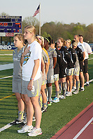 Philadelphia bench players stand for the national anthem. Key defenders, Allison Falk (3) and Heather Mitts (2), were unavailable due to suspension and injury, respectively.  Atlanta and Philadelphia played to a 0-0 draw in the season opener for both teams at John A Farrell Stadium in West Chester, PA.