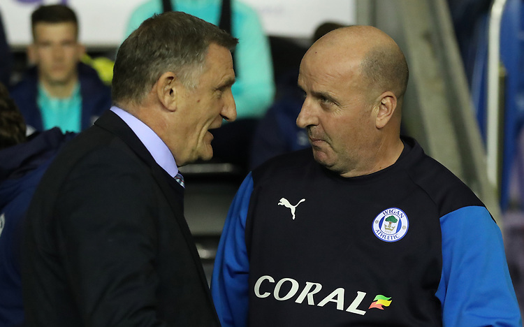 Blackburn Rovers' Manager Tony Mowbray and Wigan Athletic Manager Paul Cook<br /> <br /> Photographer Rachel Holborn/CameraSport<br /> <br /> The EFL Sky Bet Championship - Wigan Athletic v Blackburn Rovers - Wednesday 28th November 2018 - DW Stadium - Wigan<br /> <br /> World Copyright © 2018 CameraSport. All rights reserved. 43 Linden Ave. Countesthorpe. Leicester. England. LE8 5PG - Tel: +44 (0) 116 277 4147 - admin@camerasport.com - www.camerasport.com