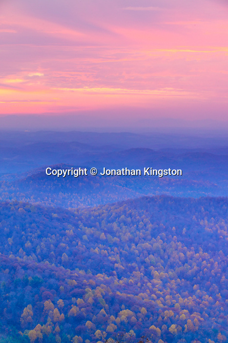 FLOYD, VA,  A view of fall foliage on the Blue Ridge Mountains from the top of Buffalo Mountain in Floyd, Virginia.