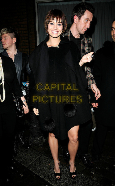 KIMBERLY WYATT (PUSSYCAT DOLLS) .At The Best Of British Talent Party, Bar Music Hall, Shoreditch, London, England, UK, January 27th 2010..full length black Kimberley fur coat pom poms pompom scarf peep toe shoes cape collar poncho .CAP/CAN.©Can Nguyen/Capital Pictures.