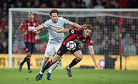 Daley Blind of Man Utd & Dan Gosling of AFC Bournemouth during the Premier League match between Bournemouth and Manchester United at the Goldsands Stadium, Bournemouth, England on 18 April 2018. Photo by Andy Rowland.