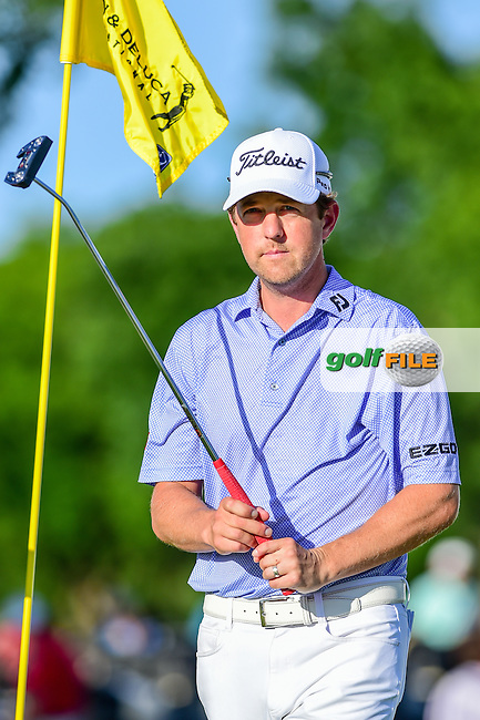 Bryce Molder (USA) after his par putt on 9 during the round 2 of the Dean &amp; Deluca Invitational,  Colonial Country Club, Ft. Worth, Texas, USA. 5/27/2016.<br /> Picture: Golffile | Ken Murray<br /> <br /> <br /> All photo usage must carry mandatory copyright credit (&copy; Golffile | Ken Murray)