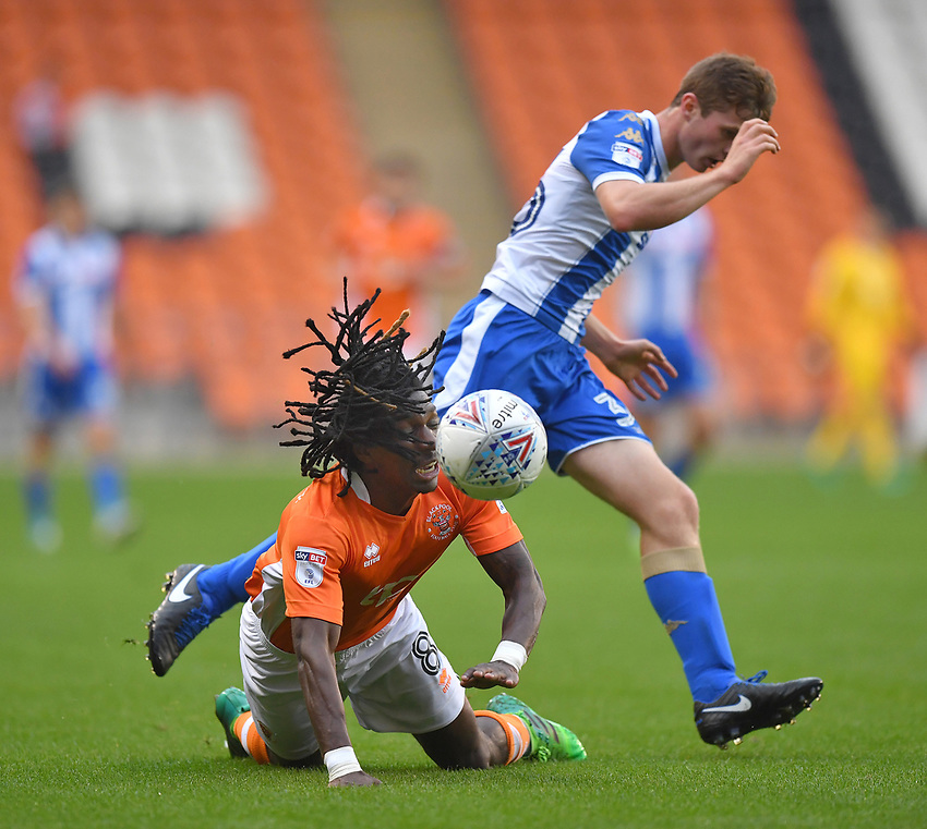Blackpool's Sessi D'Almeida is fouled <br /> <br /> Photographer Dave Howarth/CameraSport<br /> <br /> The EFL Checkatrade Trophy - Blackpool v Wigan Athletic - Tuesday 29th August 2017 - Bloomfield Road - Blackpool<br />  <br /> World Copyright &copy; 2018 CameraSport. All rights reserved. 43 Linden Ave. Countesthorpe. Leicester. England. LE8 5PG - Tel: +44 (0) 116 277 4147 - admin@camerasport.com - www.camerasport.com