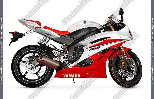 Middleweight supersport bike Yamaha YZF-R6 2006 red-white racing motorcycle isolated with a clipping path on white background