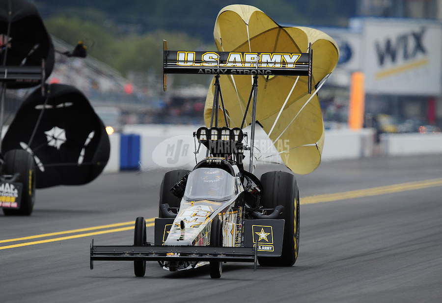Sept. 17, 2011; Concord, NC, USA: NHRA top fuel dragster driver Tony Schumacher during qualifying for the O'Reilly Auto Parts Nationals at zMax Dragway. Mandatory Credit: Mark J. Rebilas-US PRESSWIRE