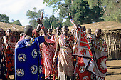 Lolgorian, Kenya. Siria Maasai Manyatta; group of women with typical beadwork adornments, earrings and bracelets.