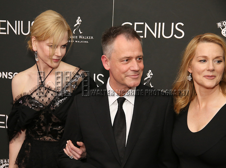 Nicole Kidman, Michael Grandage and Laura Linney attends 'Genius' New York premiere at Museum of Modern Art on June 5, 2016 in New York City.