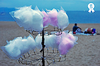 Cotton candy on stall, by beach at dusk (Licence this image exclusively with Getty: http://www.gettyimages.com/detail/94433092 )
