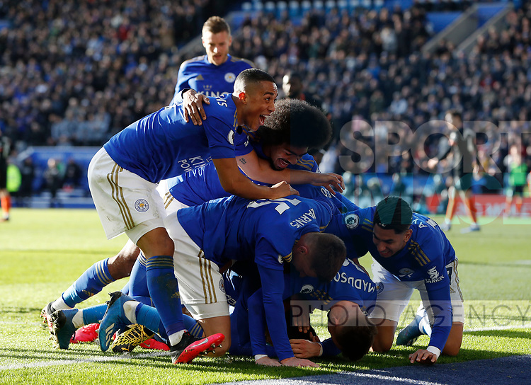 Ben Chilwell of Leicester City celebrates his goal against Chelsea with team mates during the Premier League match at the King Power Stadium, Leicester. Picture date: 1st February 2020. Picture credit should read: Darren Staples/Sportimage