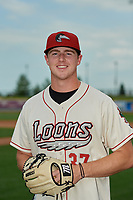Great Lakes Loons pitcher Ryan Pepiot (37) poses for a photo before a Midwest League game against the Clinton LumberKings on July 19, 2019 at Dow Diamond in Midland, Michigan.  Clinton defeated Great Lakes 3-2.  (Mike Janes/Four Seam Images)