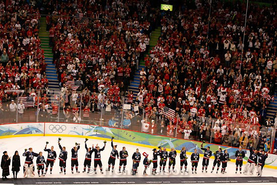 Trent Nelson  |  The Salt Lake Tribune.Silver medal-winning Team USA receives an ovation from the fans. Canada defeats Team USA in the gold medal game, women's Ice Hockey at the Canada Hockey Place, Vancouver, XXI Olympic Winter Games, Thursday, February 25, 2010.