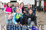 Grace Kennedy, Katie O'Donnell, Aine Newson and Niamh Hanafin with, front, Aine Curran and Sameera Bhandari at the Ballinclar Horse & Sheep Fair in Annascaul on Sunday.