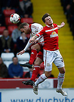 Matt Done of Sheffield Utd challenges James Jones of Crewe Alexandra during the Sky Bet League One match at Bramall Lane Stadium. Photo credit should read: Simon Bellis/Sportimage