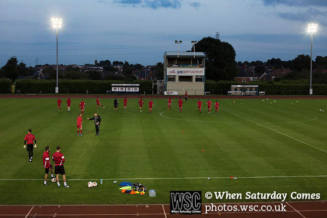 Connah's Quay Nomads 1 Llandudno 1, 20/09/2016. Deeside Stadium, Welsh Premier League. Home players going through their pre-match warm-up at the Deeside Stadium before Connah's Quay Nomads played Llandudno in a Welsh Premier League match. Both clubs represented Wales in the 2016-17 Europa League, the first time either had competed in European competition. The match ended in a 1-1 draw, watched by 181 spectators. Photo by Colin McPherson.