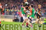 David Mannix Austin Stacks in action against Michael Moriarty and Ger Hartnett Mid Kerry in the Kerry Senior County Football Final at Fitzgerald Stadium on Sunday.
