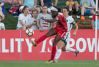 Boyds, MD. - Saturday, June 24 2017:  Cheyna Williams, Hayley Raso during a regular season National Women's Soccer League (NWSL) match between the Washington Spirit and the Portland Thorns FC at Maureen Hendricks Field, Maryland SoccerPlex. The Washington Spirit defeated Portland Thorns FC 1-0.