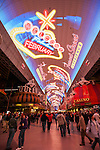 Fremont Street Experience, Neon from the Neon Museum near Fremont Street at night, Las Vegas..Fremont Street Experience