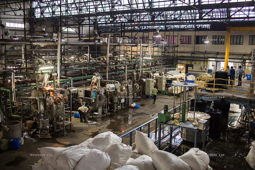 An overview of the Dye House at the Pratibha vertically integrated garment unit in Indore, Madhya Pradesh, India on 11 November 2014. Photo by Suzanne Lee for Fairtrade