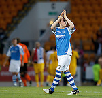 Liam Craig troops off and applauds the fans after bowing out of Europe