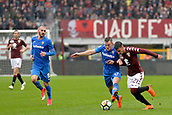 18th March 2018, Stadio Olimpico di Torino, Turin, Italy; Serie A football, Torino versus Fiorentina; Alex Berenguer and Jordan Veretout fight for the ball