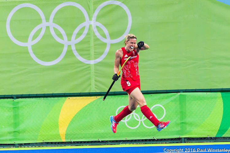 Crista Cullen #5 of Great Britain celebrates her goal during Netherlands vs Great Britain in the gold medal final at the Rio 2016 Olympics at the Olympic Hockey Centre in Rio de Janeiro, Brazil.