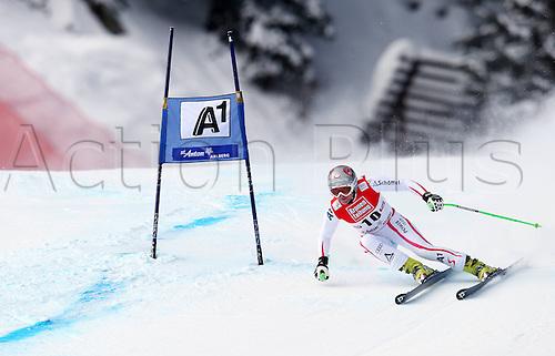 13.01.2013. St Anton, Austria.  Ski Alpine FIS World Cup Super G for women Picture shows Andrea Fischbacher AUT
