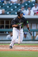 Marcus Lemon (25) of the Charlotte Knights starts down the first base line during the game against the Columbus Clippers at BB&T BallPark on May 3, 2016 in Charlotte, North Carolina.  The Clippers defeated the Knights 8-3.  (Brian Westerholt/Four Seam Images)