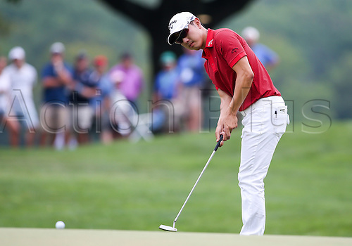 August 30, 2015: Sangmoon Bae putts  on the 5th green during the final round of the The Barclays at Plainfield Country Club in Edison, NJ.