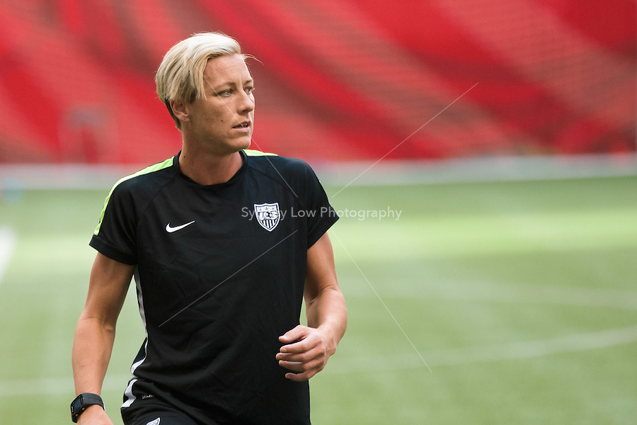 June 15, 2015: Abby WAMBACH of the USA at an official practise session prior to a Group D match at the FIFA Women's World Cup Canada 2015 between Nigeria and the USA at BC Place Stadium on 16 June 2015 in Vancouver, Canada. Sydney Low/Asteriskimages.com