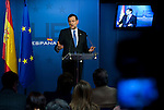 Brussels-Belgium - February 08, 2013 -- European Council, EU-summit meeting of Heads of State / Government; here, Mariano RAJOY BREY, Prime Minister of Spain, addressing the press in the Spanish briefing room, resuming the long 2-days-meeting at the end of the summit -- Photo: © HorstWagner.eu