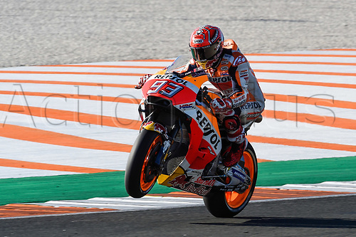 11th November 2017, Gran Premio Motul de la Comunitat Valenciana, Valencia, Spain; MotoGP of Valencia, Saturday qualifying; Marc Marquez (Repsol Honda) during the qualifying sessions