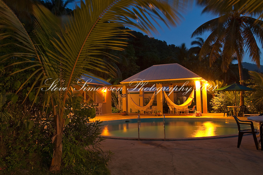 The pool at The Sugar Mill Hotel at dusk.Tortola.British Virgin Islands