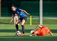 Kansas City, MO - Sunday July 02, 2017:  Yael Averbuch steps around a fallen Rachel Daly during a regular season National Women's Soccer League (NWSL) match between FC Kansas City and the Houston Dash at Children's Mercy Victory Field.
