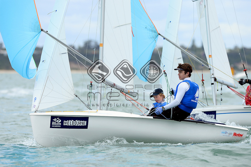 420 / Finn GILBERT & Louie COLLINS (AUS)<br /> 2013 ISAF Sailing World Cup - Melbourne<br /> Sail Melbourne - The Asia Pacific Regatta<br /> Sandringham Yacht Club, Victoria<br /> December 1st - 8th 2013<br /> © Sport the library / Jeff Crow
