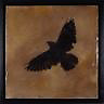Mixed media photo transfer/encaustic painting of lone crow by Florida Artist Jeff League.
