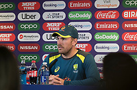 Aaron Finch (Australia) speaks to the media during a Press Conference at Edgbaston Stadium on 10th July 2019