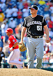 10 July 2011: Colorado Rockies pitcher Matt Reynolds returns to the mound after serving up a solo home run to Rick Ankiel of the Washington Nationals at Nationals Park in Washington, District of Columbia. The Nationals shut out the visiting Rockies 2-0 salvaging the last game their 3-game series at home prior to the All-Star break. Mandatory Credit: Ed Wolfstein Photo