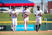 Mesa Solar Sox outfielders Skye Bolt (10, left), Jahmai Jones (9, middle) and Daz Cameron (13, right) jog off the field between innings of an Arizona Fall League game against the Salt River Rafters at Sloan Park on November 9, 2018 in Mesa, Arizona. Mesa defeated Salt River 5-4. (Zachary Lucy/Four Seam Images)
