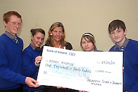 Pictured are pupils from Milltown school who held a coffee morning in aid of Kerry Hospice and raised 1050.00 euros<br /> from left to right Liam Lachs, Dannielle Crowley, presenting a cheque to Nuala Finnegan of Kerry Hospice, along with Kirstie Devane and Michael O'Shea<br /> picture MacMonagle Photography
