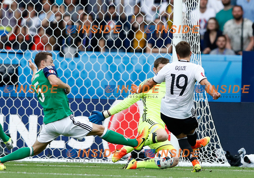 Michael McGovern Northern Ireland saving on Mario Gotze Germany. parata portiere<br /> Paris 21-06-2016 Parc des Princes Footballl Euro2016 Northern Ireland - Germany  / Irlanda del Nord - Germania Group Stage Group C. Foto Matteo Ciambelli / Insidefoto